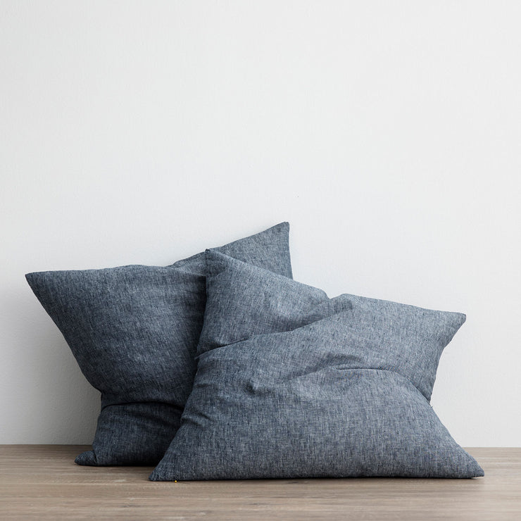 Set of 2 Linen Euro Pillowcases - Indigo
