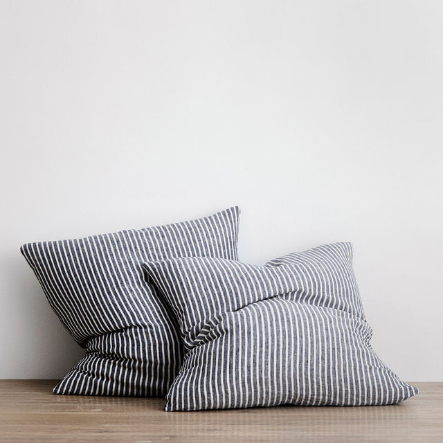 Set of 2 Linen Euro Pillowcases - Indigo Stripe