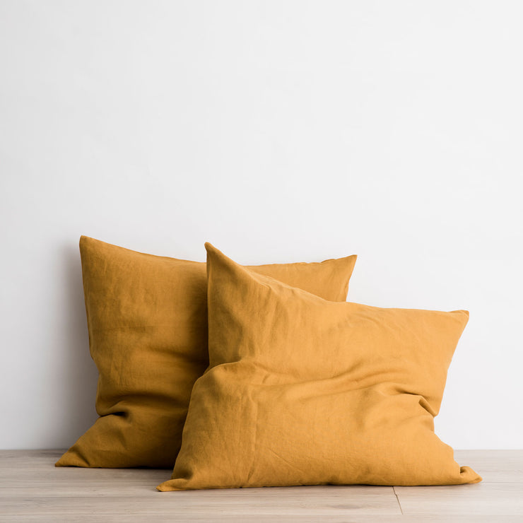 Set of 2 Linen Euro Pillowcases - Mustard