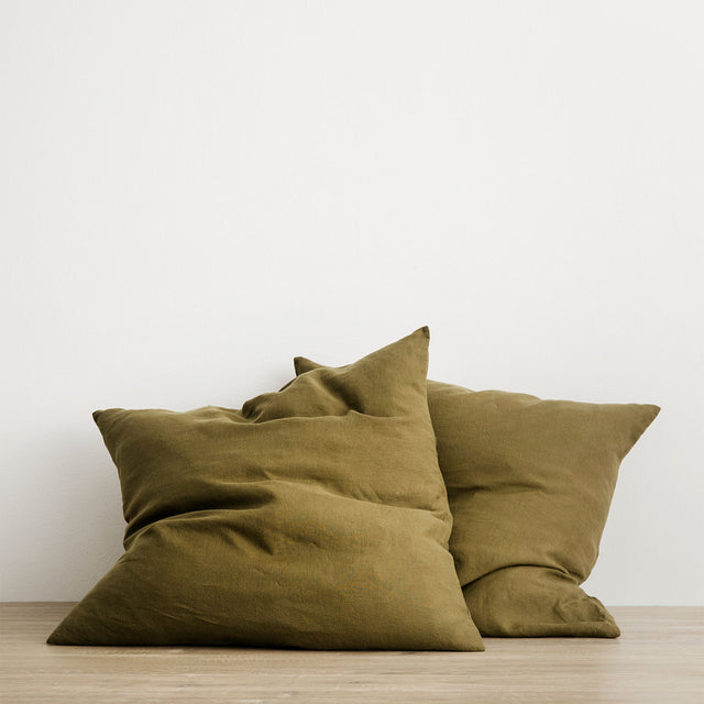 Set of 2 Linen Euro Pillowcases - Olive