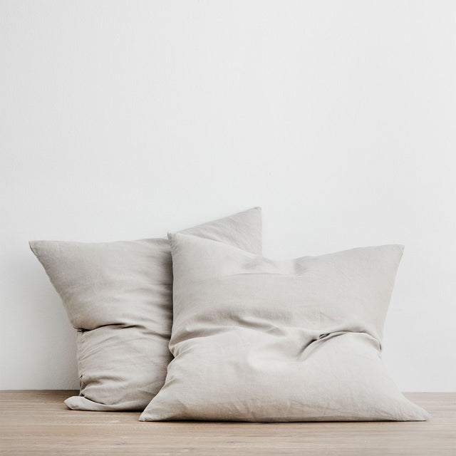 Set of 2 Linen Euro Pillowcases - Smoke Grey