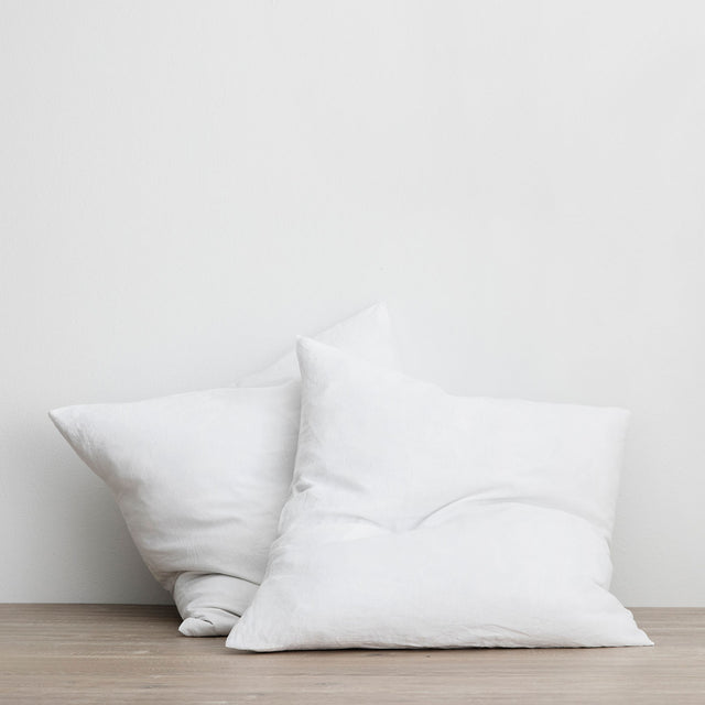 Set of 2 Linen Euro Pillowcases - White