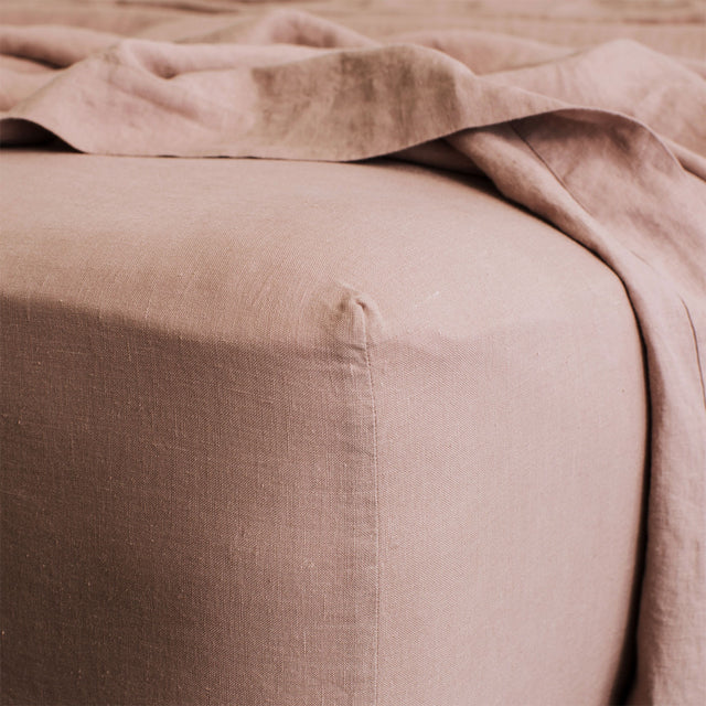 Linen Fitted Sheet in Fawn