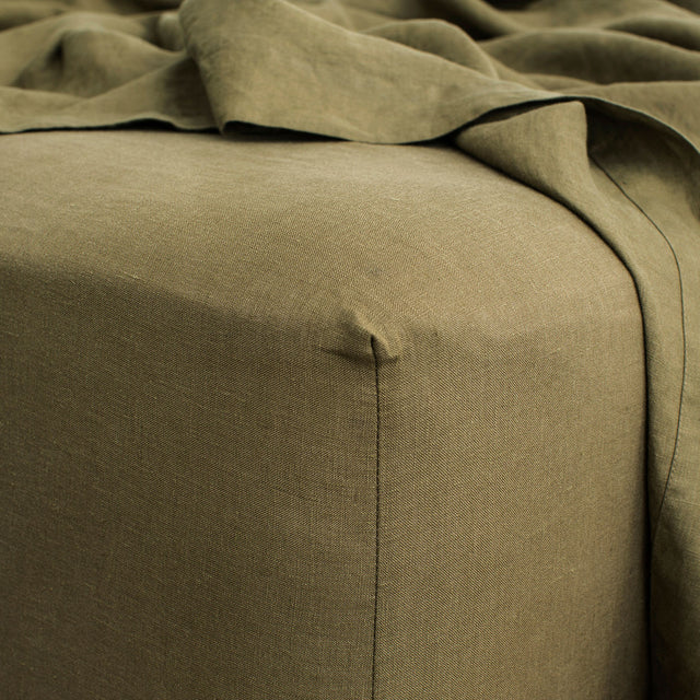 Linen Fitted Sheet - Olive