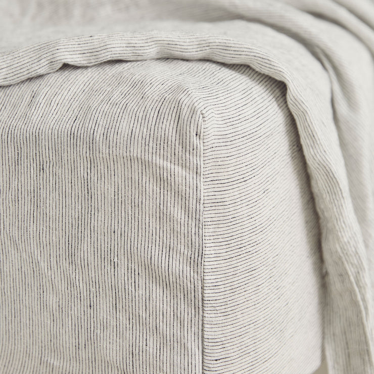 Linen Fitted Sheet - Pinstripe