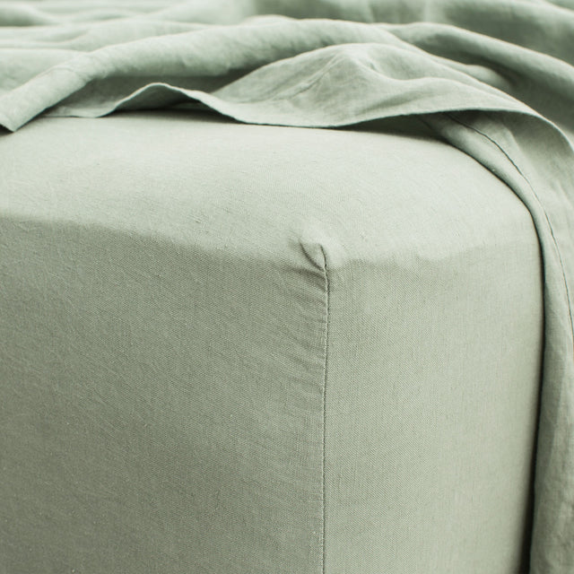 Linen Fitted Sheet - Sage