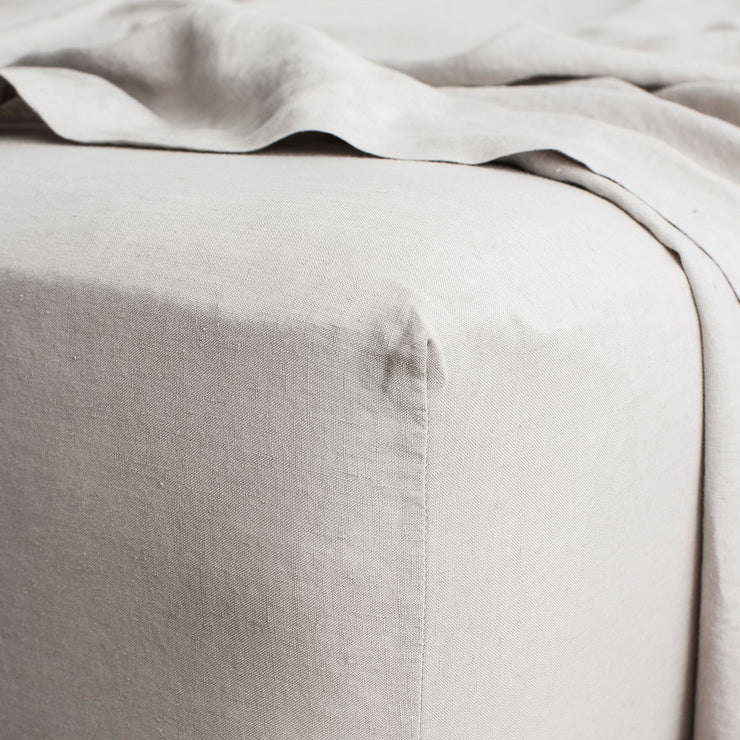 Linen Fitted Sheet - Smoke Grey