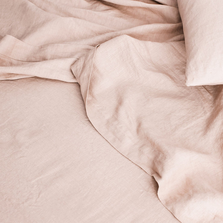 Linen Flat Sheet with Border - Blush