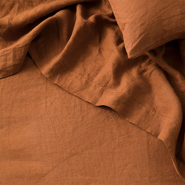 Detail image of Cedar Linen Flat Sheet and Pillowcase.