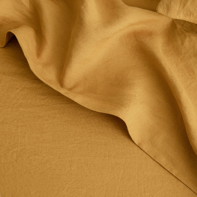 Linen Flat Sheet with Border in Mustard