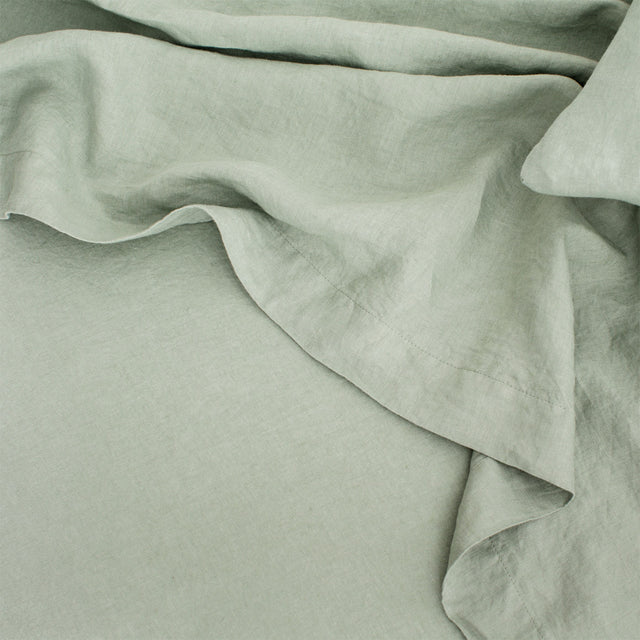 Linen Flat Sheet with Border - Sage