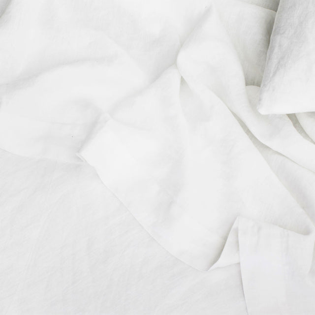Linen Flat Sheet with Border - White
