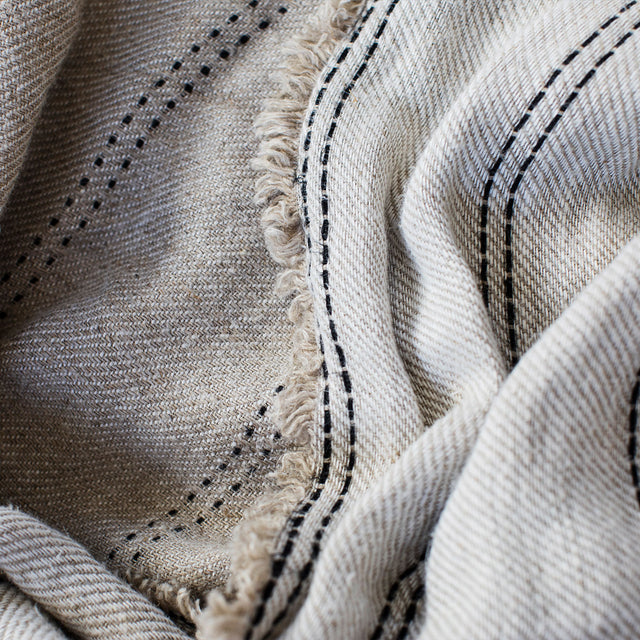 A close up of the material of the Mira Linen Throw in Ana