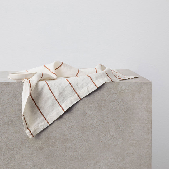 Linen Table Napkin in Cedar Stripe