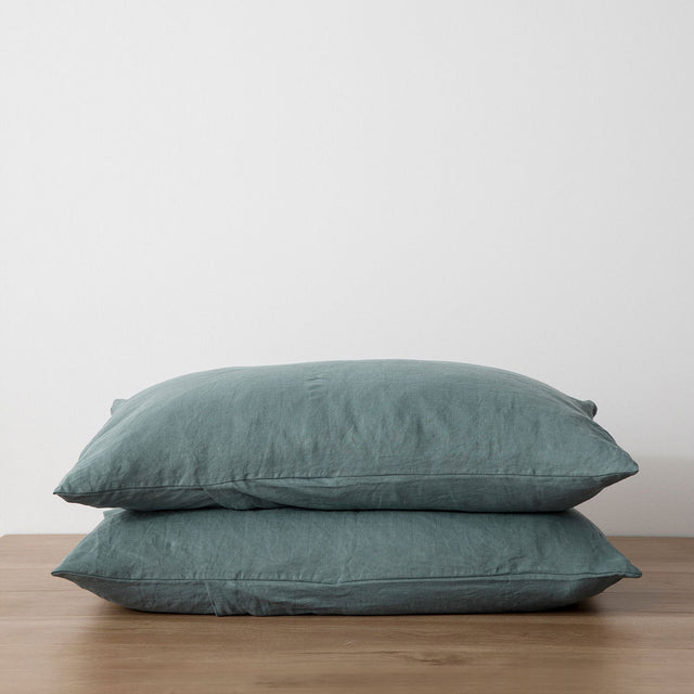 Stack of 2 Linen Pillowcases in Bluestone