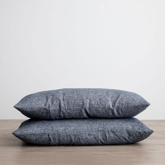 Stack of 2 Linen Pillowcases in Indigo
