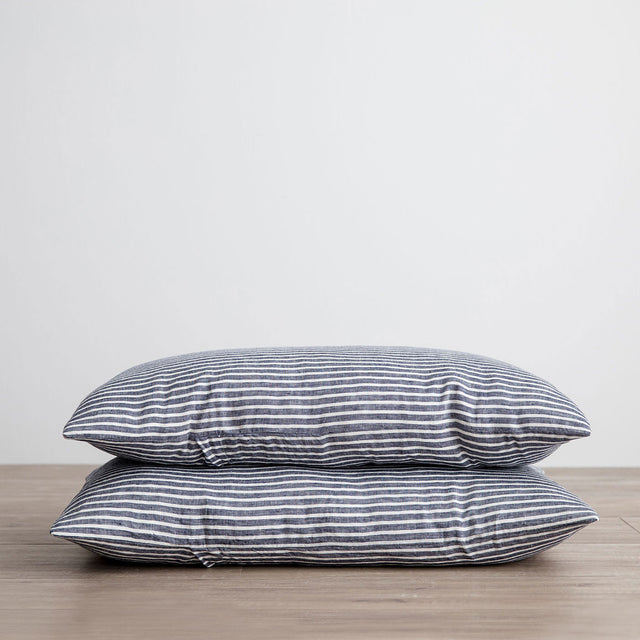 Stack of 2 Linen Pillowcases in Indigo Stripe