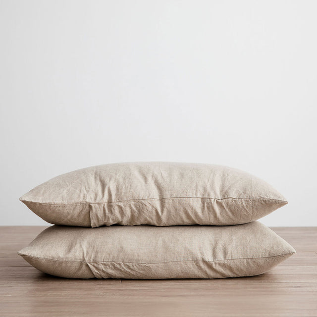 Stack of 2 Linen Pillowcases in Natural