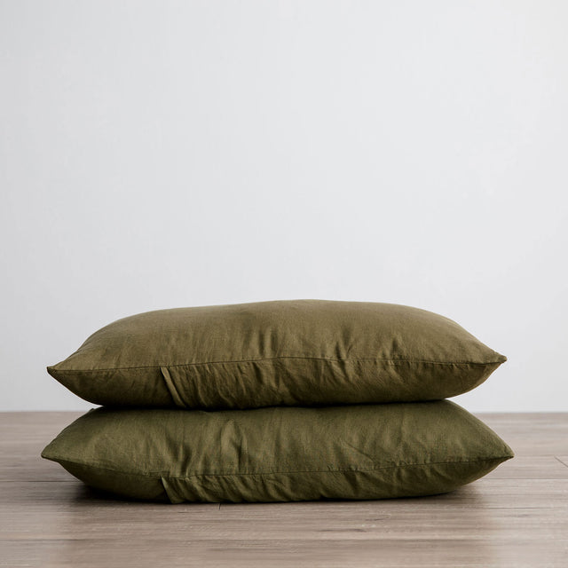 Stack of 2 Linen Pillowcases in Olive