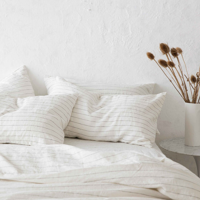 Set of 2 Linen Pillowcases and Duvet Cover in Pencil Stripe