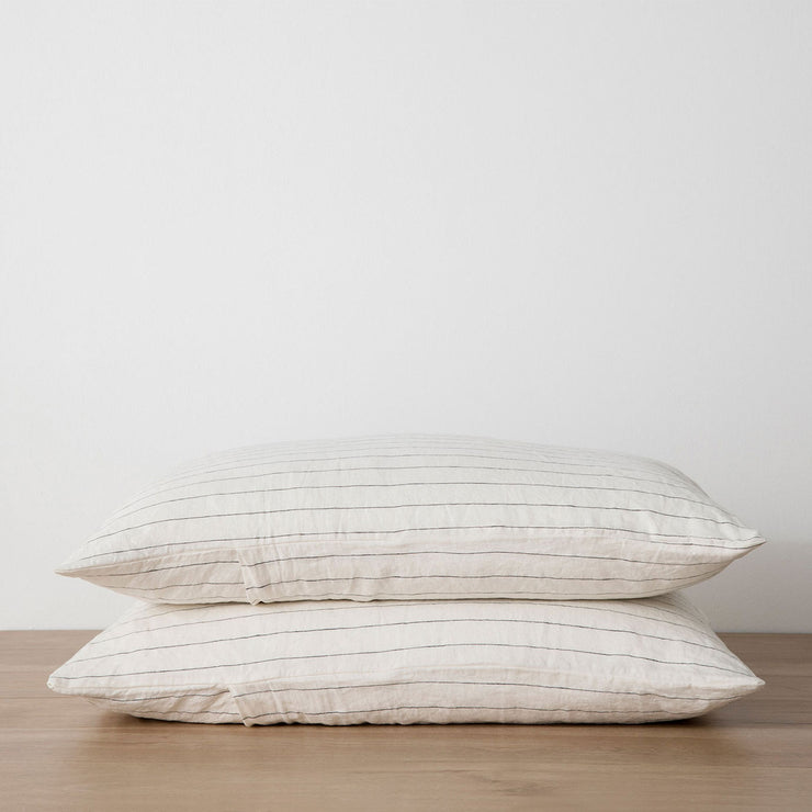 Stack of 2 Linen Pillowcases in Pencil Stripe