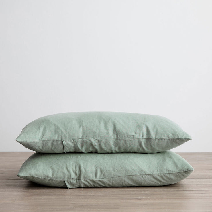 Stack of 2 Linen Pillowcases in Sage