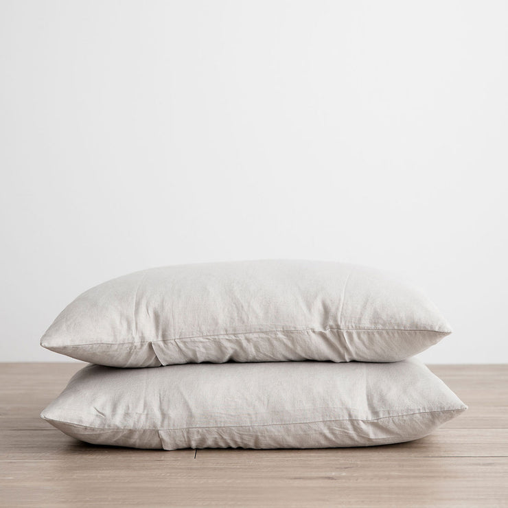 Stack of 2 Linen Pillowcases in Smoke Grey