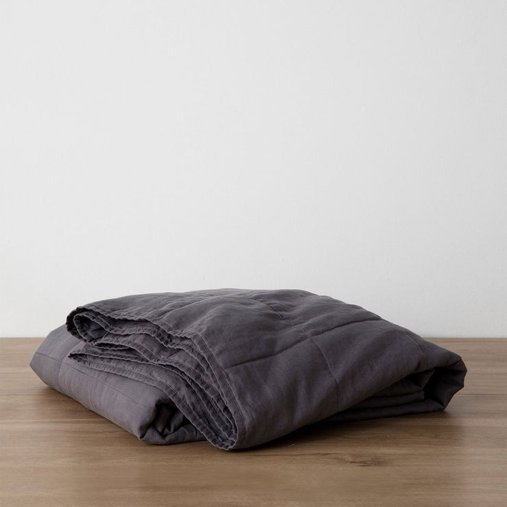 Linen Quilted Bedcover - Charcoal