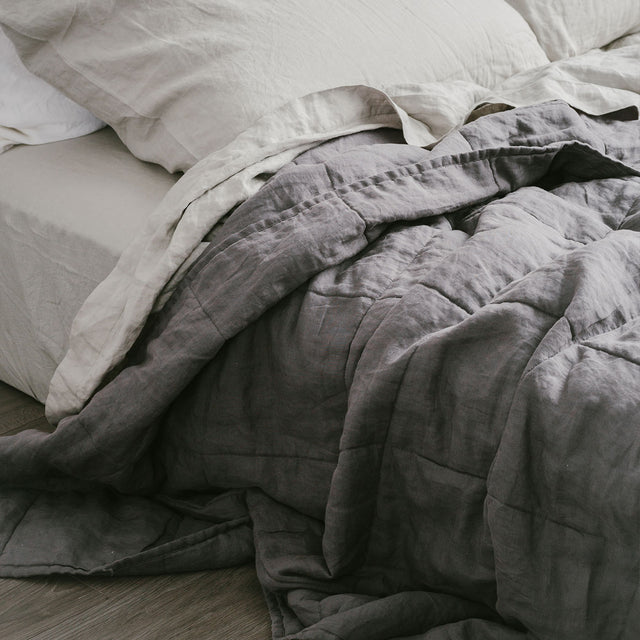Linen Quilted Bedcover in Charcoal with Smoke Grey Linen Sheets