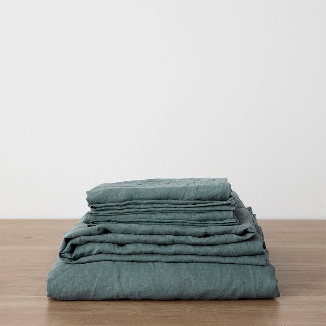 Linen Sheet Set with Pillowcases - Bluestone