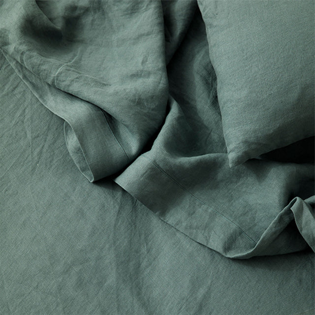 Detail image of Linen Flat Sheet and Pillowcase in Bluestone.