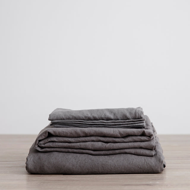 Linen Sheet Set with Pillowcases - Charcoal Grey