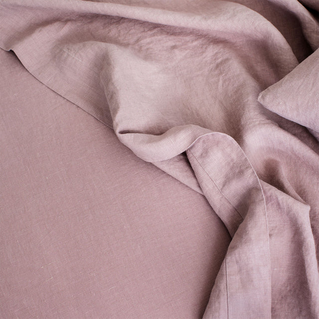 Close up of Linen Flat Sheet in Dusk.