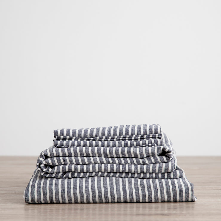 Linen Sheet Set with Pillowcases - Indigo Stripe