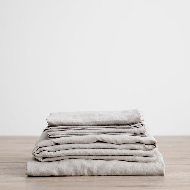Linen Sheet Set with Pillowcases - Smoke Grey