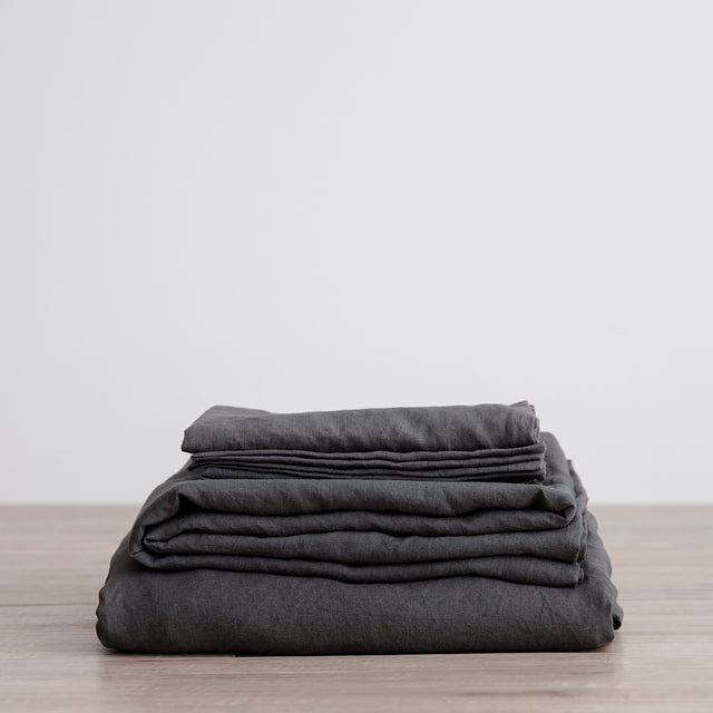 Linen Sheet Set with Pillowcases in Slate