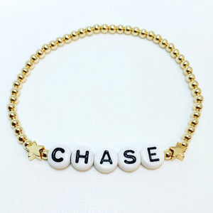 Name Bracelet with Two Gold Stars