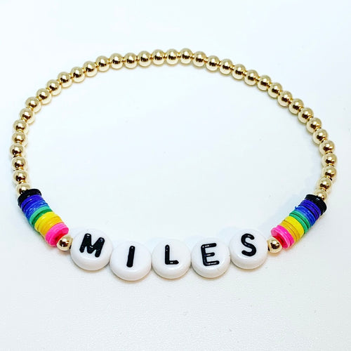 KIDS Name Bracelet with Rainbow Discs