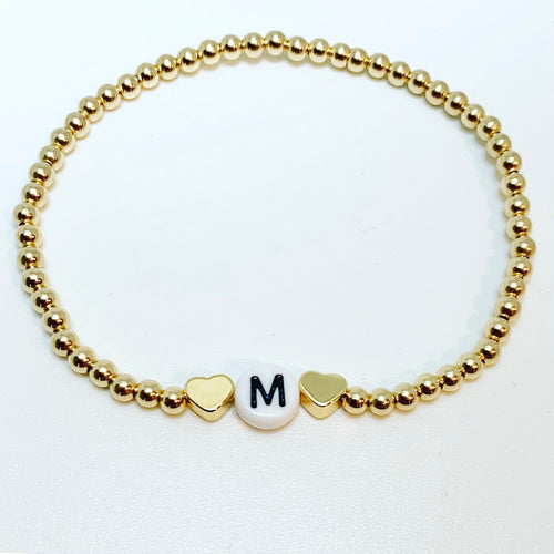 KIDS Gold Initial Bracelet with Gold Hearts or Stars