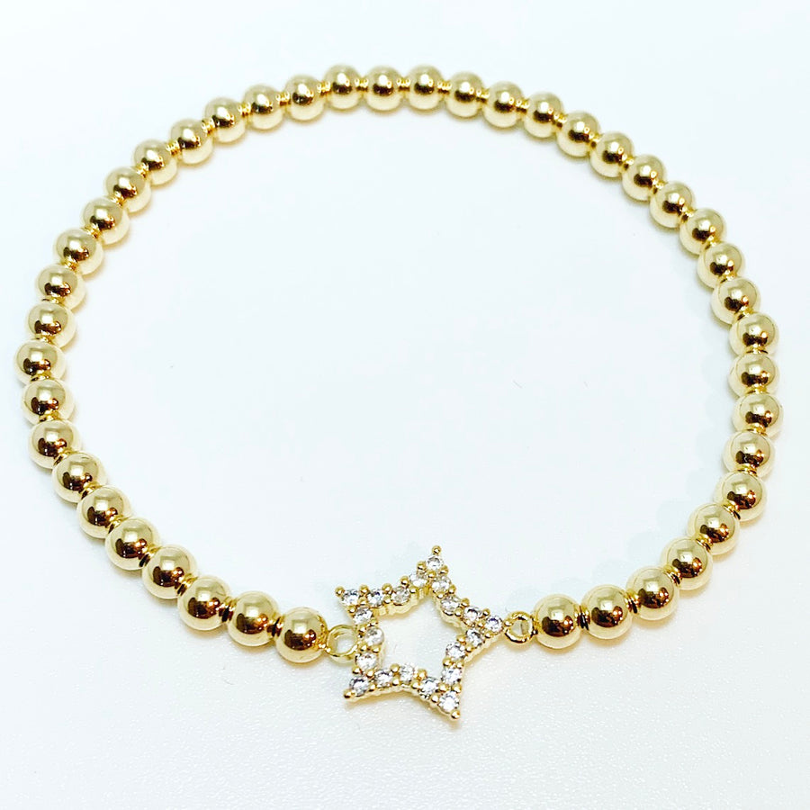 Gold Bracelet with Star Connector Charm