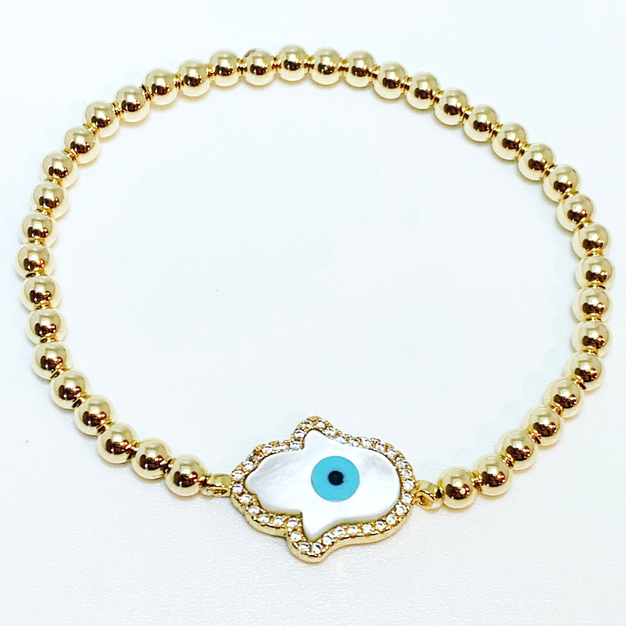 Gold Bracelet with Mother of Pearl Hamsa Evil Eye Connector Charm