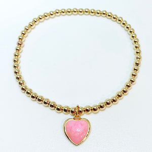 Gold Bracelet with Enamel Heart Charm