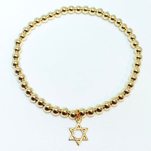 3mm Gold with Star of David Charm