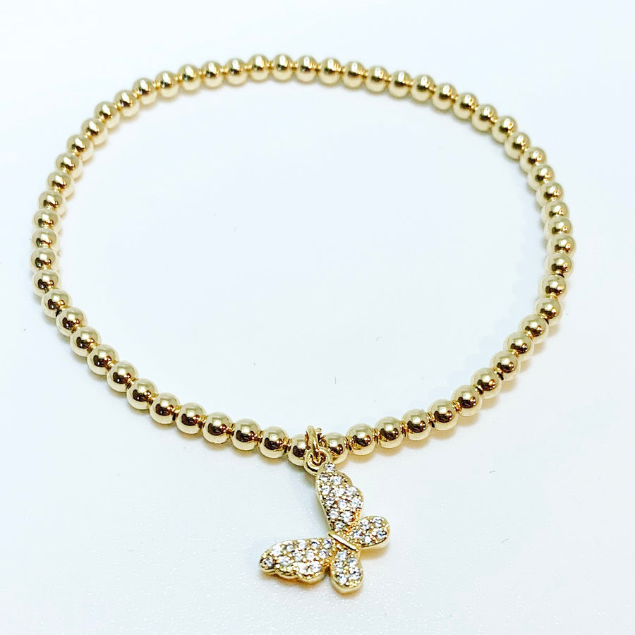 Gold Bracelet with Butterfly Charm