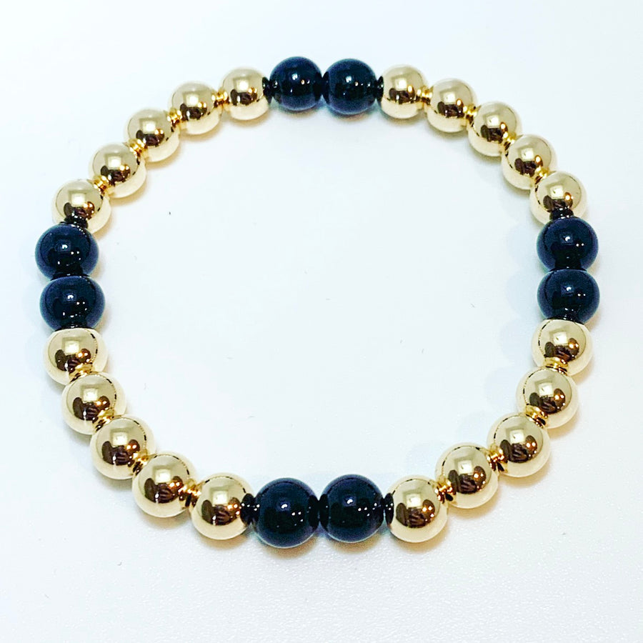 6mm Gold Bracelet with Onyx details