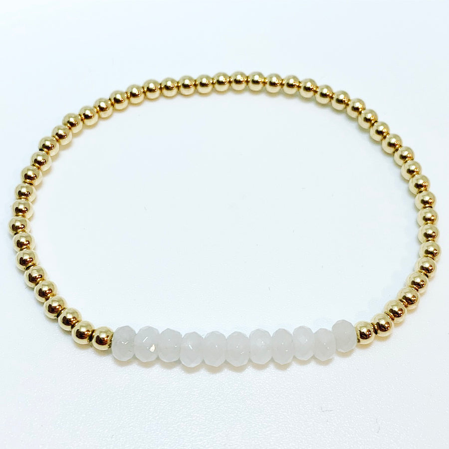 Bracelet with White Jade Gemstones