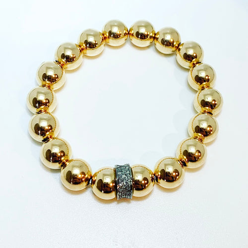 8mm Ball Bracelet with Diamond Rondelle
