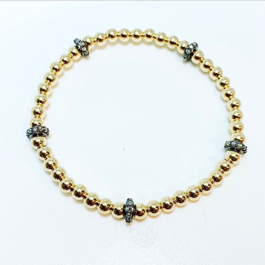 4mm Beaded Stretch Bracelet with Diamond Rondelles