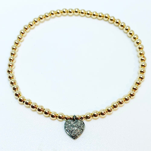 Diamond Heart Charm on Beaded Stretch Bracelet