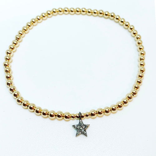 Diamond Star Charm on Ball Bracelet